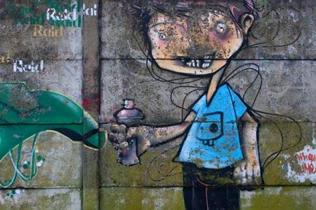 Garon Au TeeShirt Bleu Bombe  Peinture  La Main  GraffNantes